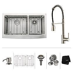36 Inch Farmhouse Double Bowl Stainless Steel Kitchen Sink with Kitchen Faucet and Soap Dispenser
