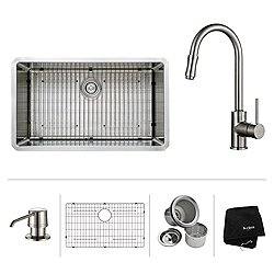 32 Inch Undermount Single Bowl Stainless Steel Kitchen Sink with Kitchen Faucet and Soap Dispenser 1622