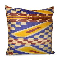 Blue and Rust Silk Ikat Pillow