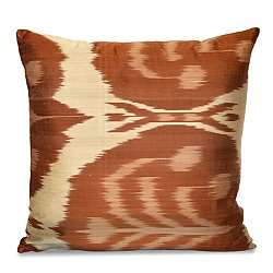 Rust and Cream Silk Ikat Pillow