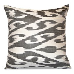 Gray and White Silk Ikat Pillow