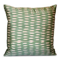 Green and White Silk Ikat Pillow
