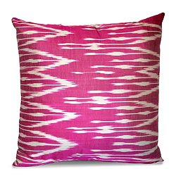Fuschia and White Silk Ikat Pillow
