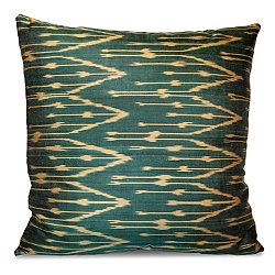 Green and Yellow Silk Ikat Pillow