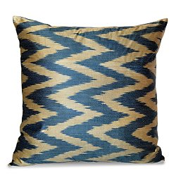 Royal Blue and Gold Silk Ikat Pillow