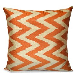 Orange and White Silk Ikat Pillow