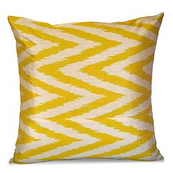 Yellow and White Silk Ikat Pillow