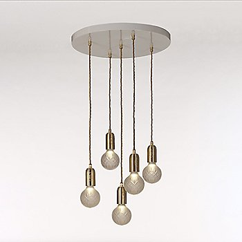 Frosted Crystal / Polished Brass finish / 5 light