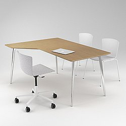 Fly Office L-Shape Veneer Table