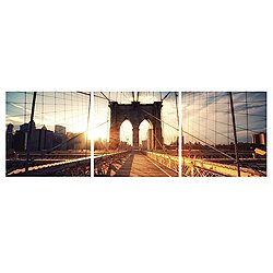Brooklyn Sunset Mounted Triptych Art Print
