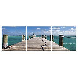 Bahamas Pier Wood Mounted Triptych Art Print