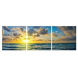 Blue Atlantic Sky Mounted Triptych Art Print
