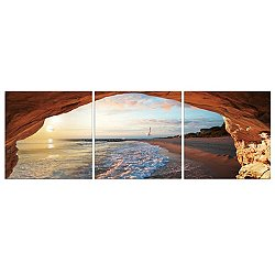 Beach Grotto Mounted Triptych Art Print