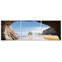 Beach Cove Mounted Triptych Art Print