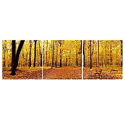 Bench in the Park Mounted Triptych Art Print