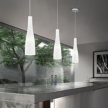 White, in use, above kitchen island