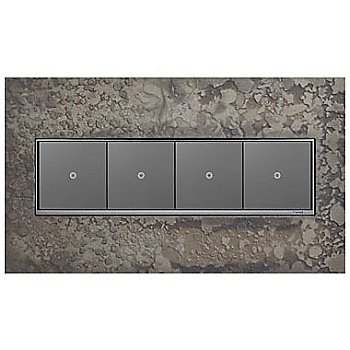 Shown in Burnished Steel finish, 4 Gang