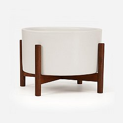 Case Study Table Top Cylinder with Wood Stand (Wht)-OPEN BOX
