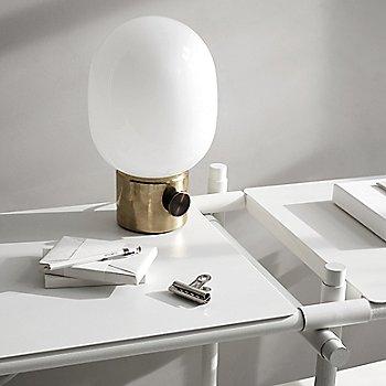 Stick System Shelving with JWDA Metallic Table Lamp