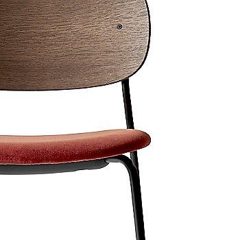 City Velvet: Red Seat Material / Dark Stained Oak Frame finish / Detail view