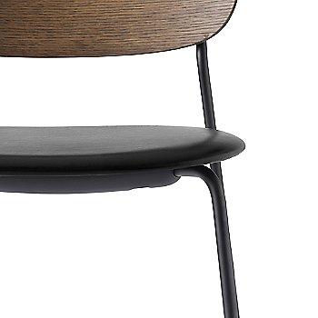 Dakar Leather: Black Seat Material / Dark Stained Oak Frame finish / Detail view