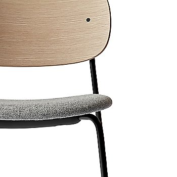 City Velvet: Grey Seat Material / Natural Oak Veneer Frame finish / Detail view