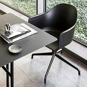 Black Swivel with Casters Legs / Dakar Leather: Black fabric
