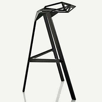 Barstool, Black/Anodised Aluminum Black Legs / side view