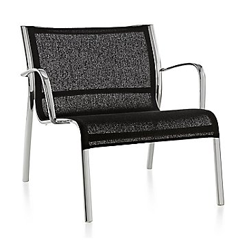 Polished Aluminum Frame/Black Poly Cotton Seating finish