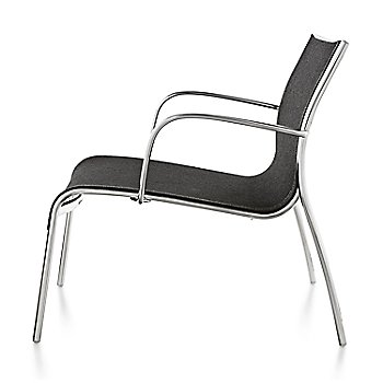Polished Aluminum Frame/Black Poly Cotton Seating finish / Side view