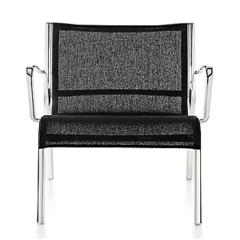 Polished Aluminum Frame/Black Poly Cotton Seating finish / Front view