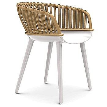 Glossy White Legs, Natural Wicker Back