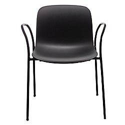 Troy Plastic Armchair, Set of 2 (Painted Frame/Blk)-OPEN BOX