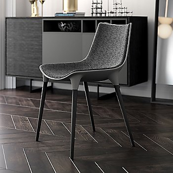 Charcoal Denim Fabric on Black Oak Legs / in use