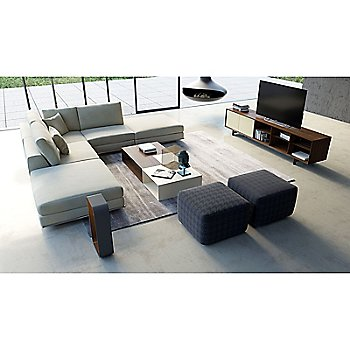 Chiswick Media Cabinet with Putney 2 Piece Coffee Table Set and Perry Preconfigured Armless Corner Sectional Sofa