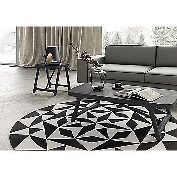 Haru Coffee Table with Haru Side Table, Ambition Hide Rug and Abbey Table Lamp