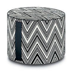 Kew Outdoor Cylinder Pouf, Black/White