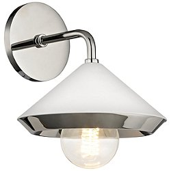 Marnie Wall Sconce (Nickel-White Shade/Bar/29.5 in)-OPEN BOX
