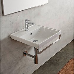Scarabeo Square Wall Mounted Sink with Towel Bar