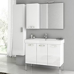 Cubical Floor Standing Vanity Set with Two Cabinets