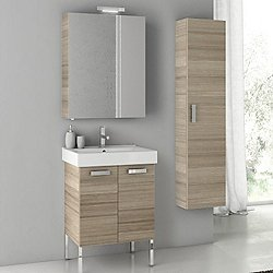 Cubical Floor Standing Vanity Set with Medicine + Wall Cabinet
