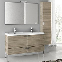 New Space 39 Inch Double Vanity with Cabinet + Mirror