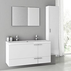New Space Double Sink ANS14 with Mirror + Wall Cabinet