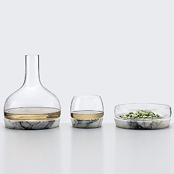 Chill Carafe With Marble Base with Chill Whisky Tumbler with Marble Base and Chill Bowl with Marble Base