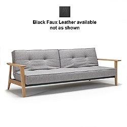 Splitback Frej Sofa (Black Faux Leather) - OPEN BOX RETURN
