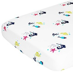 Oceanography Organic Cotton Percale Crib Sheet