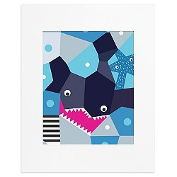 Oceanography Cubist Art Print-Shark