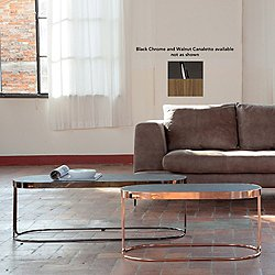 Cora Coffee Table (Short/Small/Bronzed Chrome/Canaletto Walnut) - OPEN BOX RETURN