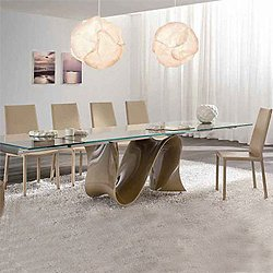Wave 78-118 Inch Wide Extension Glass Table