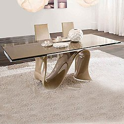 Wave 78-Inch Wide Fixed Glass Table